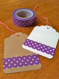 Washi Tape paars met stip