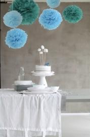 Set van 3 Pompoms blauw