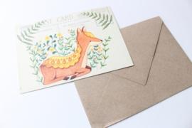 Ansichtkaart Hert met enveloppe