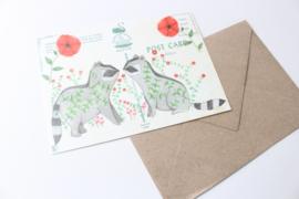 Ansichtkaart Wasberen met enveloppe