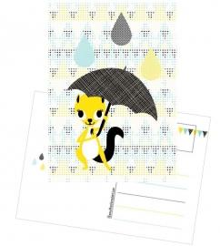 Postcard Eekhoorntje met Paraplu