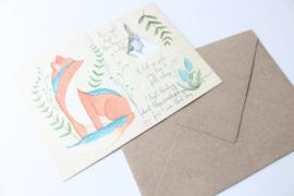 Ansichtkaart Vos met enveloppe