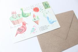 Ansichtkaart Vogels met enveloppe