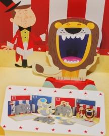 Circus Pop-Up en Die-Cut kaarten - Leeuw/Olifant
