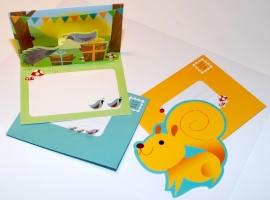 Woodland Pop-Up en Die-Cut kaarten - Vogel/Eekhoorn