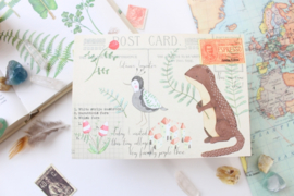 Ansichtkaart Otter met enveloppe