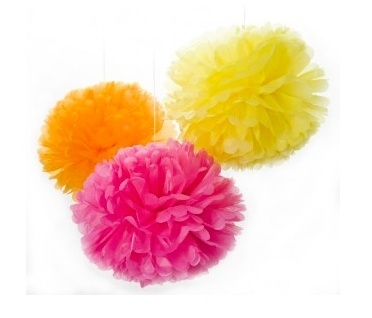 Set van 3 REUZE Pompoms Orange, Yellow, Pink