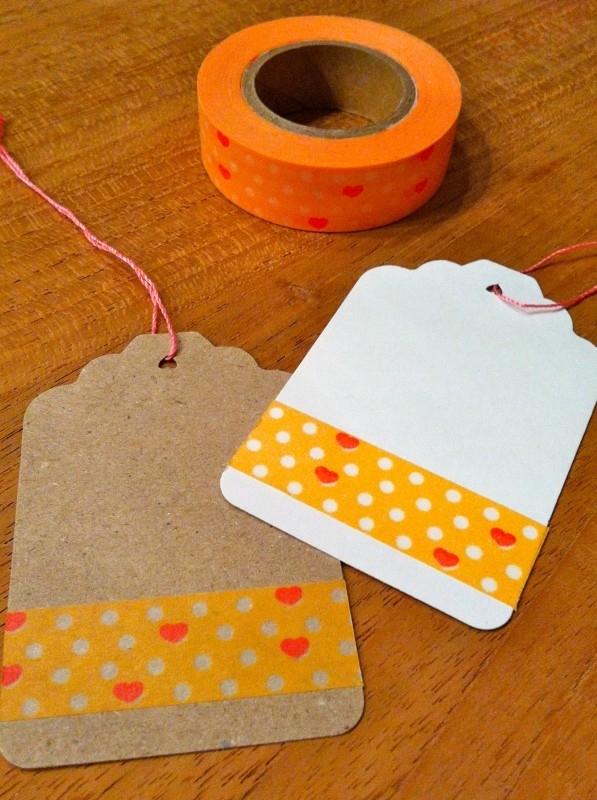 Washi Tape  oranje met stip en roze hartje