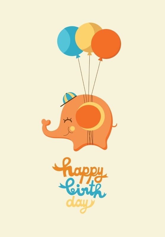 Postcard Happy Birthday Olifant