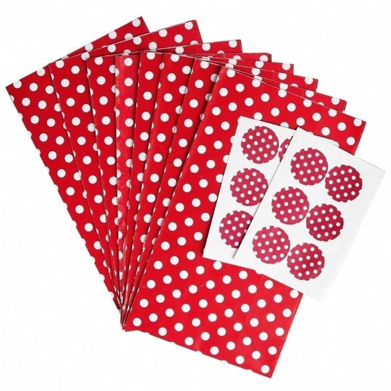 Party zakjes rood met stip (set van 6)