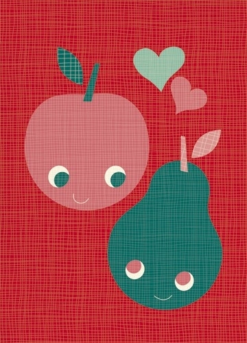 Postcard Fruit Love