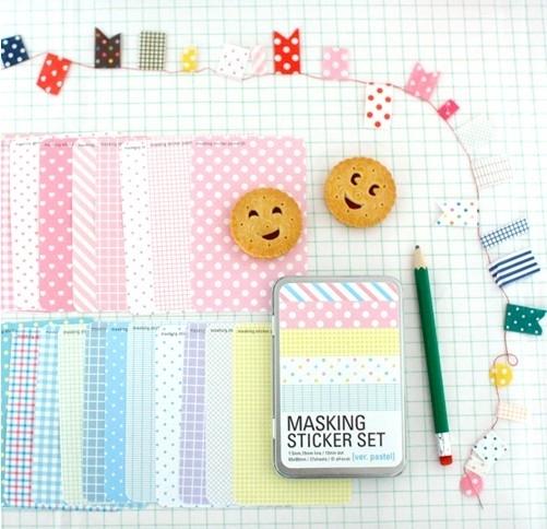 """Masking Sticker Set """"Pastel"""" + tin case"""