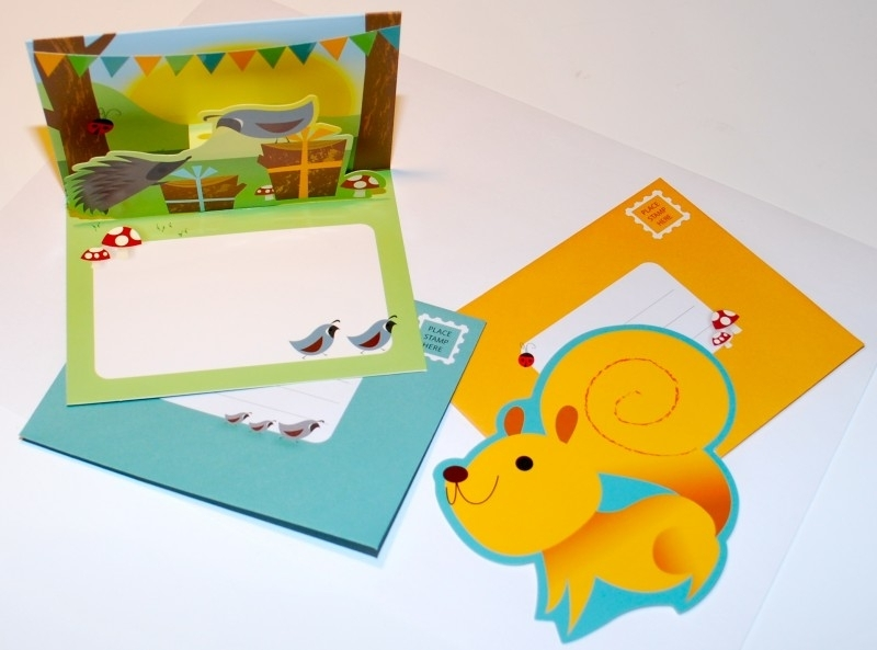 Woodland Pop-Up en Die-Cut kaarten - Vogel/Eekhoorn