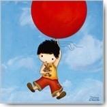 Kaart jongetje met rode ballon