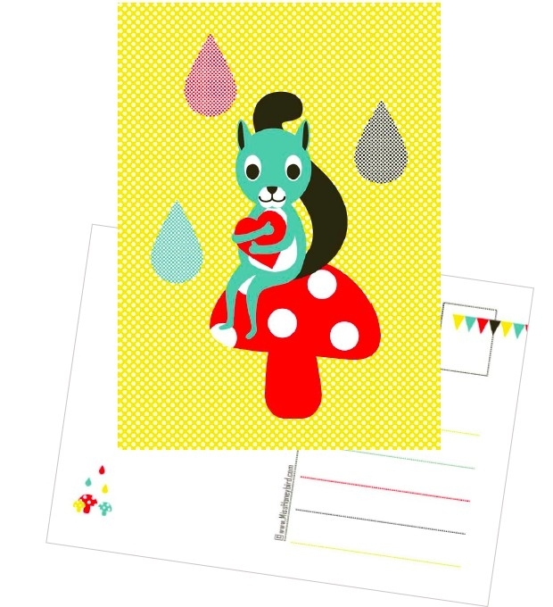 Postcard Eekhoorntje op Paddestoel