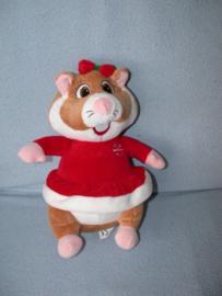 AJ-1205  Albert Heijn hamster als Kerstman/meisje - 26 cm