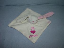 K-1040  Funnies kroeldoekje konijn Ik (hartje) Papa