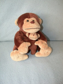 AJ-1207  Evora aap met kleintje - 19 cm