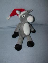 AJ-1216  Gloednieuw! Kinder/Ferrero ezel Emil met kerstmuts - 27 cm