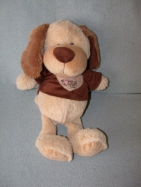 H-816  Kids Globe Plush hond met truitje - 44 cm