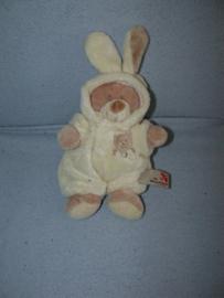 B-389  Nicotoy verkleedbeertje met konijnenpak - 21 cm