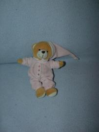 B-1734  Koppen.com beertje met pyjama en slaapmuts - 22 cm