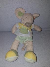 M-585  Nicotoy muis Spitsy met kleertjes - 28 cm