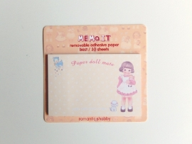 post-its paper doll - geel met stipjes