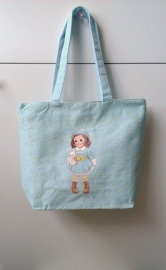 canvas tas paper doll - blauw