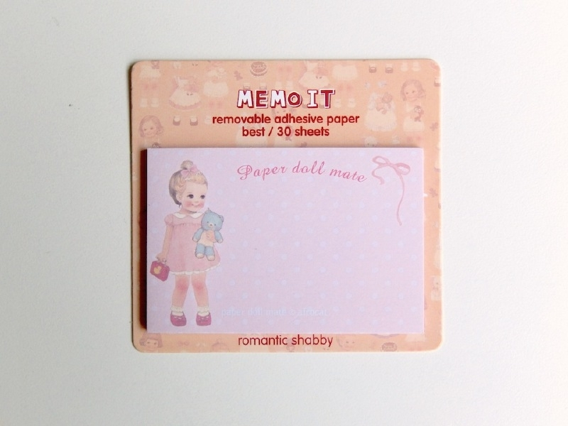 post-its paper doll - roze met stipjes
