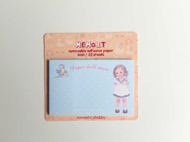 post-its paper doll - blauw met stipjes