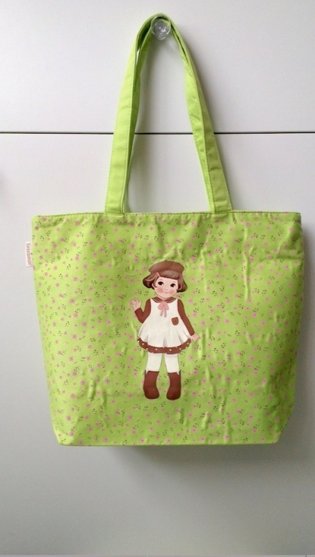 canvas tas paper doll - groen