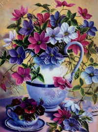 "Diamond painting ""Flowers in coffee cup"""