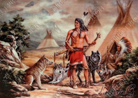 """Diamond painting """"Indians and wolves"""""""