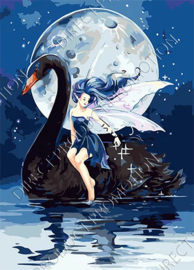 "Diamond painting ""Elf on black swan"""