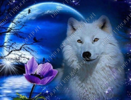"Diamond painting ""White Wolf"""