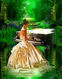 """Diamond painting """"Young lady behind the piano"""""""