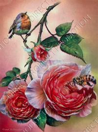 "Diamond painting ""Robin on rose branch"""