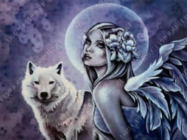 "Diamond painting ""Angel with wolf"""