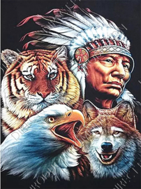 "Diamond painting ""Indian face with tiger, wolf and eagle"""