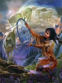 """Diamond painting """"Indian girl and dreams wolves"""""""