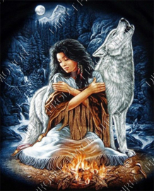 "Diamond painting ""Indians woman with wolf"""