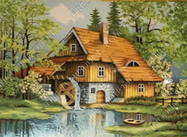 """Diamond painting """"House with watermill"""""""