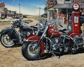 "Diamond painting ""Two motorcycles at petrol pump"""