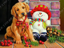 "Diamond painting ""Puppy and snowman"""