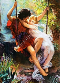 "Diamond painting ""On the swing"""