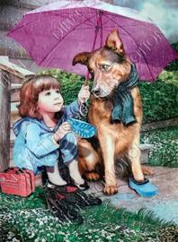 "Diamond painting ""Child and dog"""