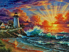 """Diamond painting """"Lighthouse by the sea"""""""