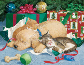 "Diamond painting ""Puppy and kittens with Christmas gifts"""