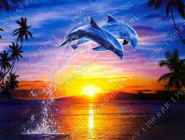 "Diamond painting ""Dolphins at sunset"""